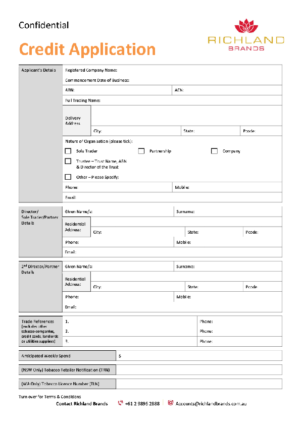 Template Credit Application Form